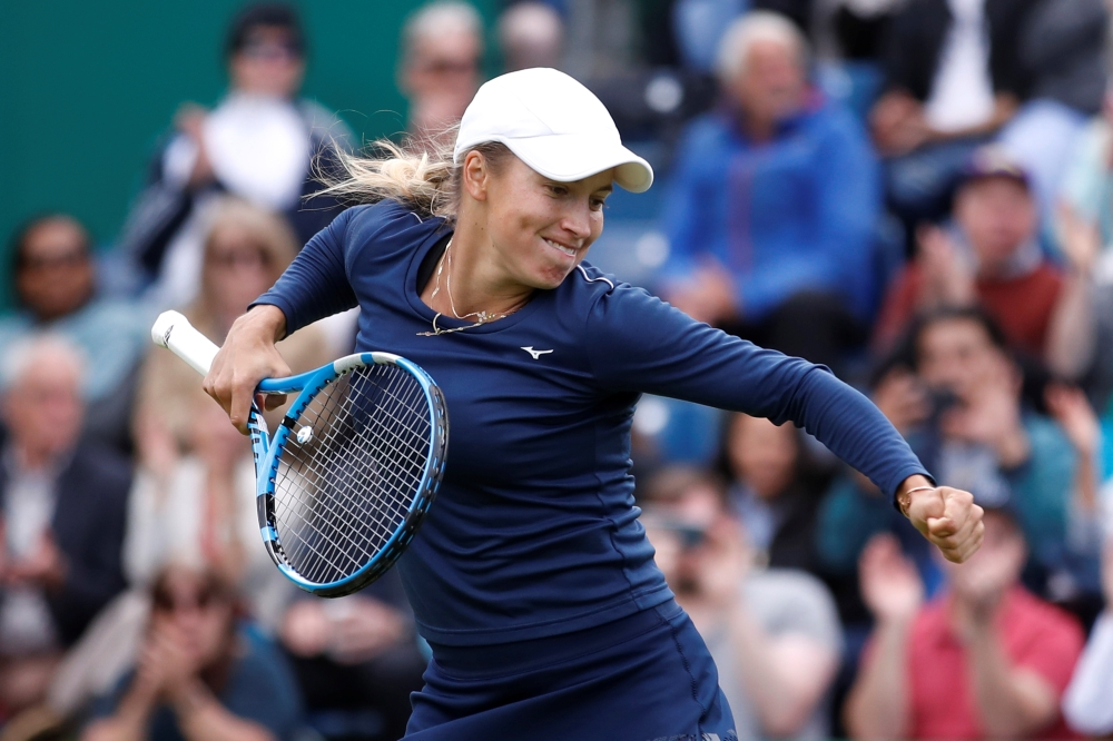 Kazakhstan's Yulia Putintseva celebrates after winning her second round match against Japan's Naomi Osaka in the WTA Premier Nature Valley Classic at the Edgbaston Priory Club, Edgbaston, Birmingham, Britain, on Thursday. — Reuters