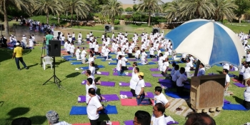 Dozens of people participate in a yoga session at Al-Madi Park in Riyadh on Thursday as part of the celebrations marking 5th International Day of Yoga.