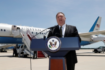 US Secretary of State Mike Pompeo speaks to the media at Joint Base Andrews, Maryland, on Sunday before boarding a plane headed to Jeddah. — Reuters