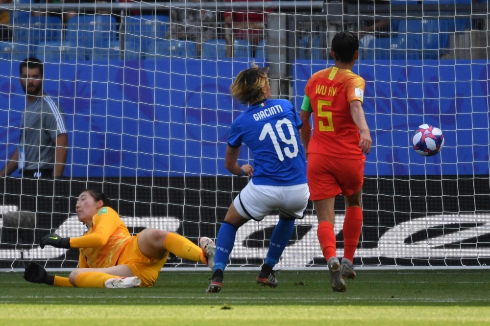 Italy's forward Valentina Giacinti (C) scores a goal during the France 2019 Women's World Cup round of sixteen football match between against China at La Mosson stadium in Montpellier, south western France, on Tuesday. — AFP