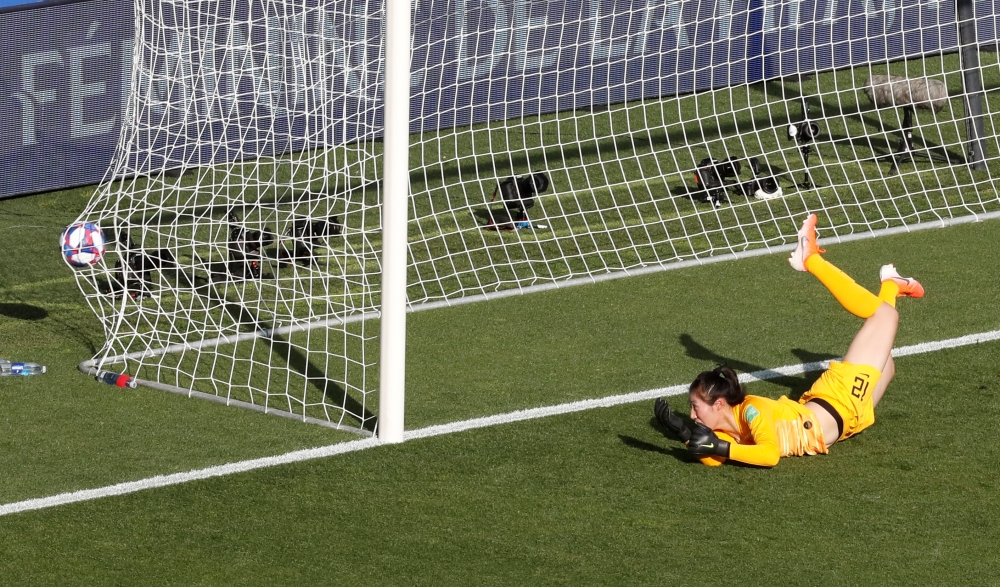 China's Shimeng Peng concedes their second goal scored by Italy's Aurora Galli during the France 2019 Women's World Cup round of sixteen football match between against China at La Mosson stadium in Montpellier, south western France, on Tuesday. — Reuters