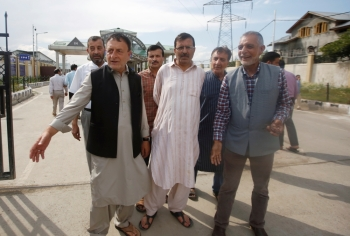Ghulam Jeelani Qadri, a journalist and the publisher of the Urdu-language newspaper Daily Afaaq, leaves after a court granted him bail, in Srinagar, on Tuesday. — Reuters