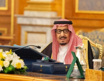Custodian of the Two Holy Mosques King Salman and Crown Prince Muhammad Bin Salman, deputy premier and minister of defense, at the weekly session of the Cabinet at Al-Salam Palace in Jeddah on Tuesday. — SPA