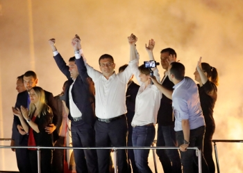 Ekrem Imamoglu, center, mayoral candidate of the main opposition Republican People's Party (CHP), greets supporters at a rally of in Beylikduzu district, in Istanbul, Turkey, in this June 23, 2019 file photo. — Reuters
