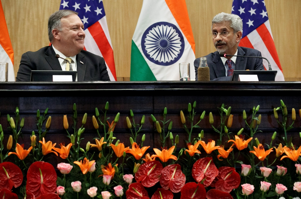 US Secretary of State Mike Pompeo listens to Indian Foreign Minister Subrahmanyam Jaishankar during a news conference at the Foreign Ministry in New Delhi on Wednesday. — Reuters