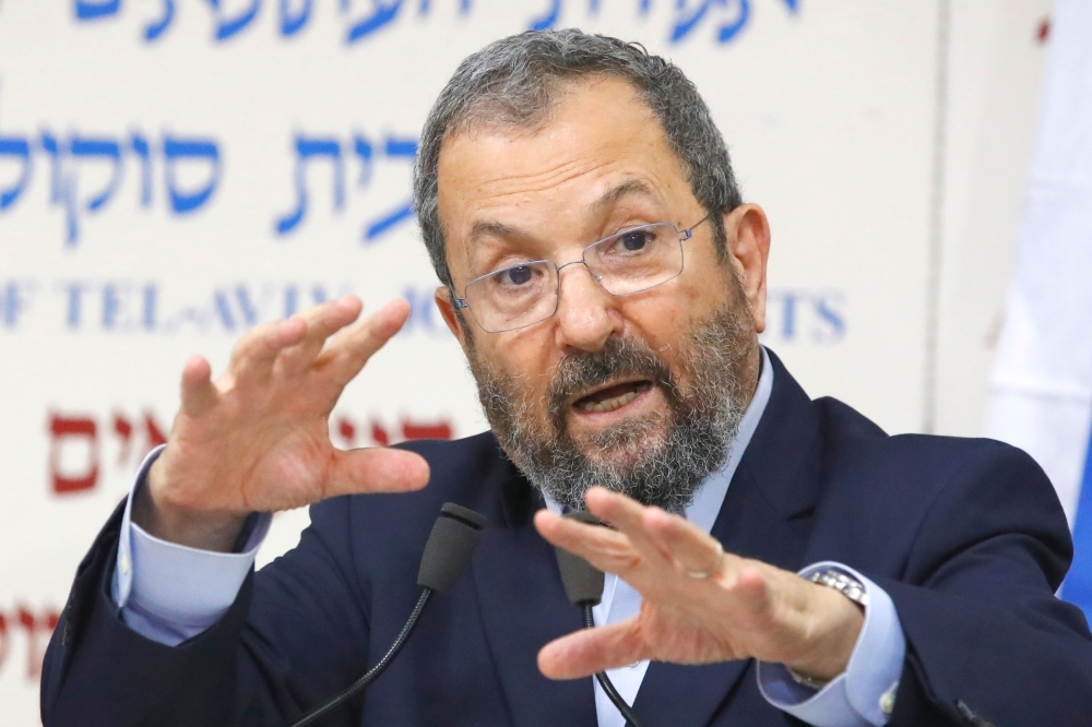 Former Israeli Prime Minister Ehud Barak holds a press conference at Beit Sokolov in Tel Aviv on Wednesday to announce that he will be running in the upcoming elections in September. — AFP