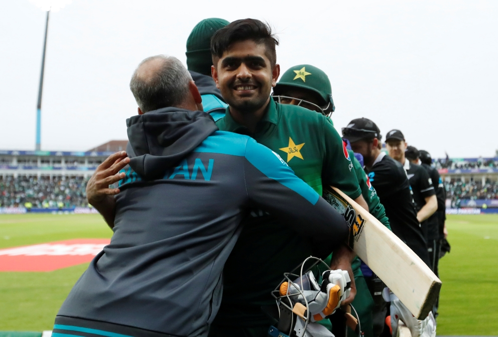 Pakistan's Babar Azam celebrates after winning the ICC Cricket World Cup match against New Zealand at the Edgbaston, Birmingham, Britian on Wednesday. — Reuters