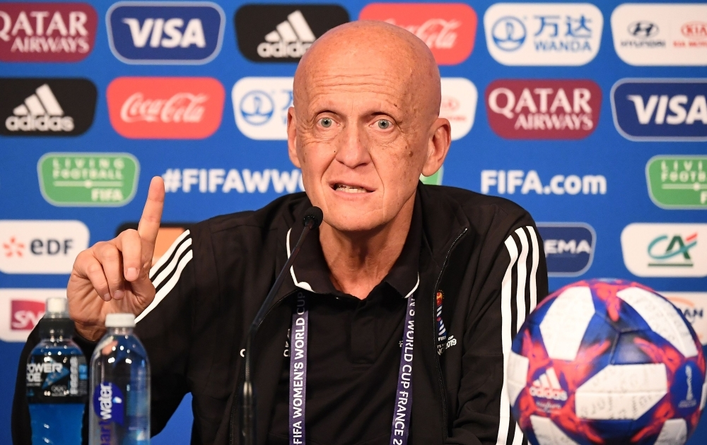 FIFA's Referees Committee Italian chairman Pierluigi Collina gestures during a press conference during the France 2019 Women's football World Cup in Paris on Wednesday. — AFP