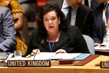 Karen Pierce, Britain's Ambassador to the United Nations, addresses the UN Security Council briefing on implementation of the resolution that endorsed the Iran nuclear deal at the United Nations headquarters in New York on Wednesday. — Reuters