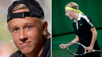 Leo org bagging Swedish U-16 title in Stockholm in this Aug. 13, 2018 file photo.  Borg was in action on a London grasscourt on Wednesday although it went almost unnoticed at the Hurlingham Club where all eyes were on Rafael Nadal.