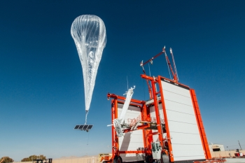 A Loon internet balloon, carrying solar-powered mobile networking equipment, flies over the company's launch site in Winnemucca, Nevada, U.S., in this June 27, 2019 file photo. — Reuters