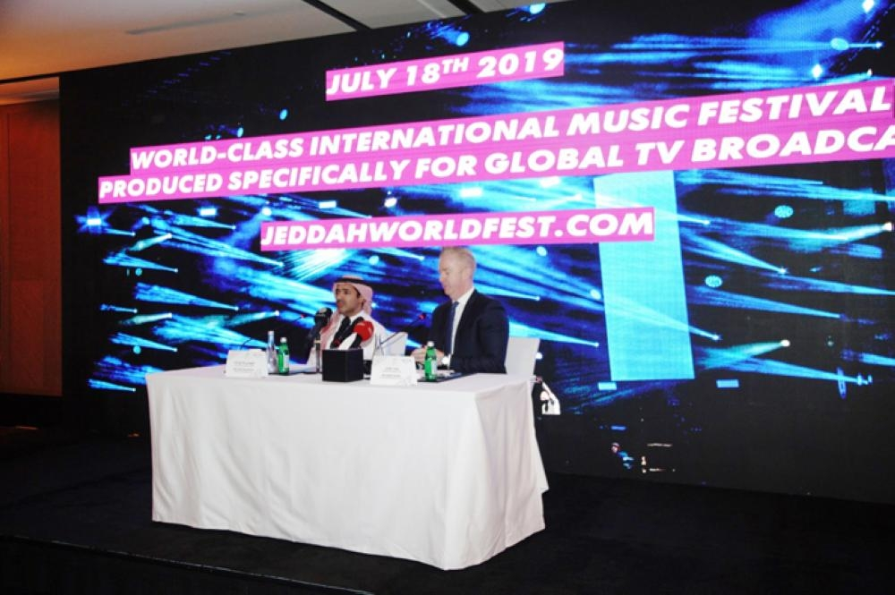 Announcement being made about the live music festival in Jeddah at a press conference.