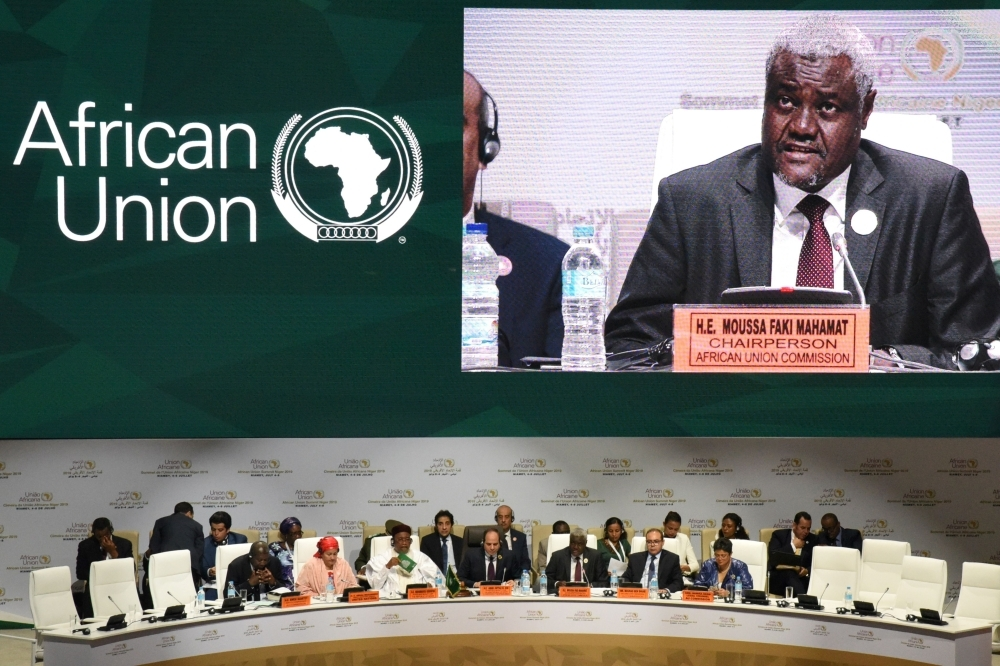 Chairperson of the African Union Commission Moussa Faki Mahamat delivers a speech during the African Union (AU) summit at the Palais des Congres in Niamey, Sunday. — AFP