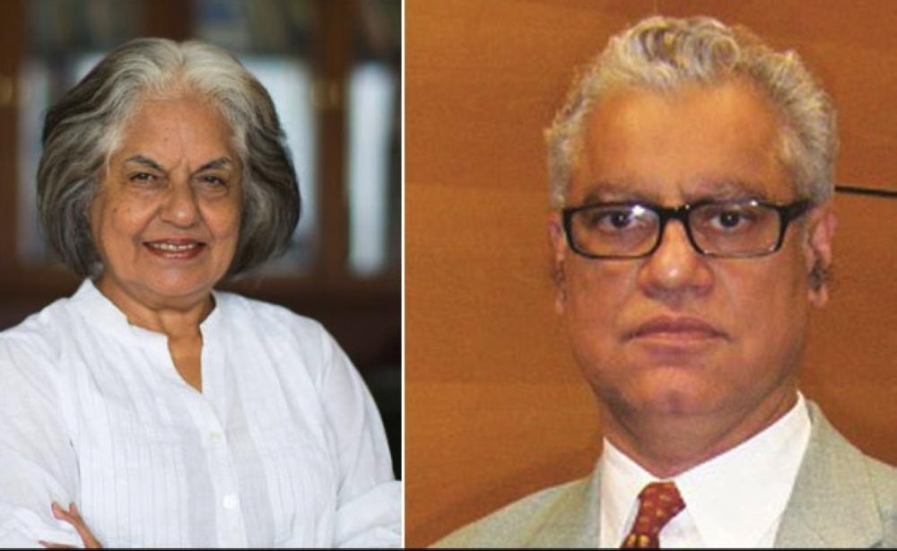 India's top lawyers Anand Grover, right, and Indira Jaising, left, are seen in this file combo picture. — Courtesy photo