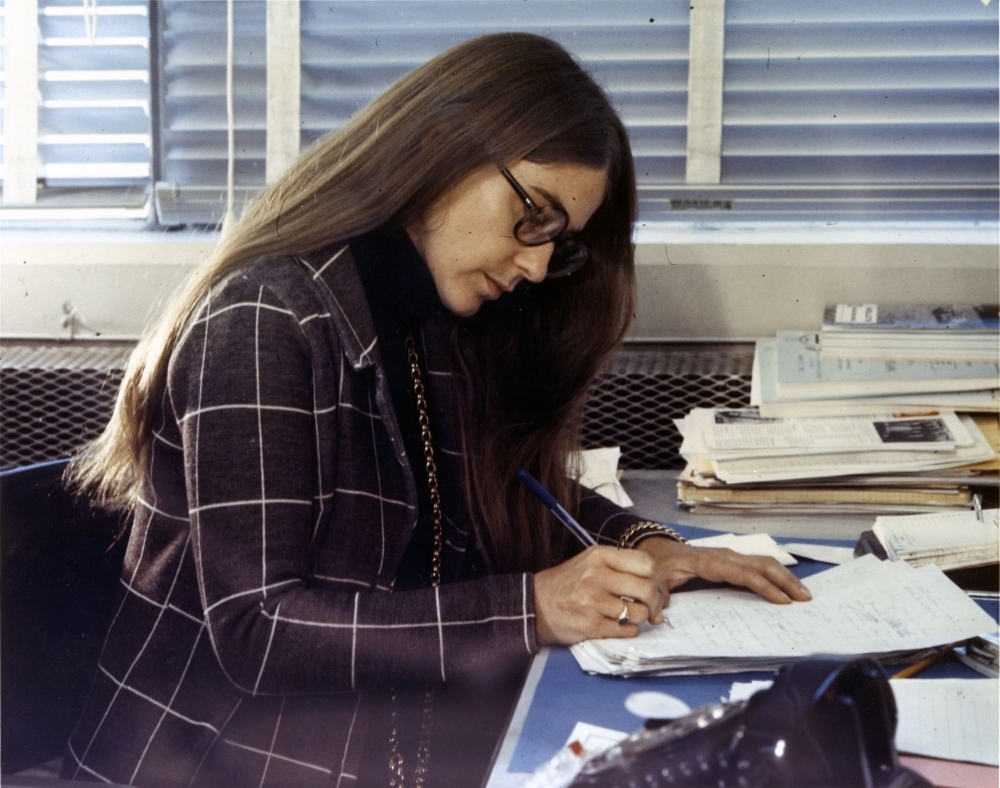 This undated handout photo released by the Smithsonian National Air and Space Museum on Thursday shows Margaret Hamilton, a member of Draper Laboratory Staff at work during the Apollo missions.  — AFP