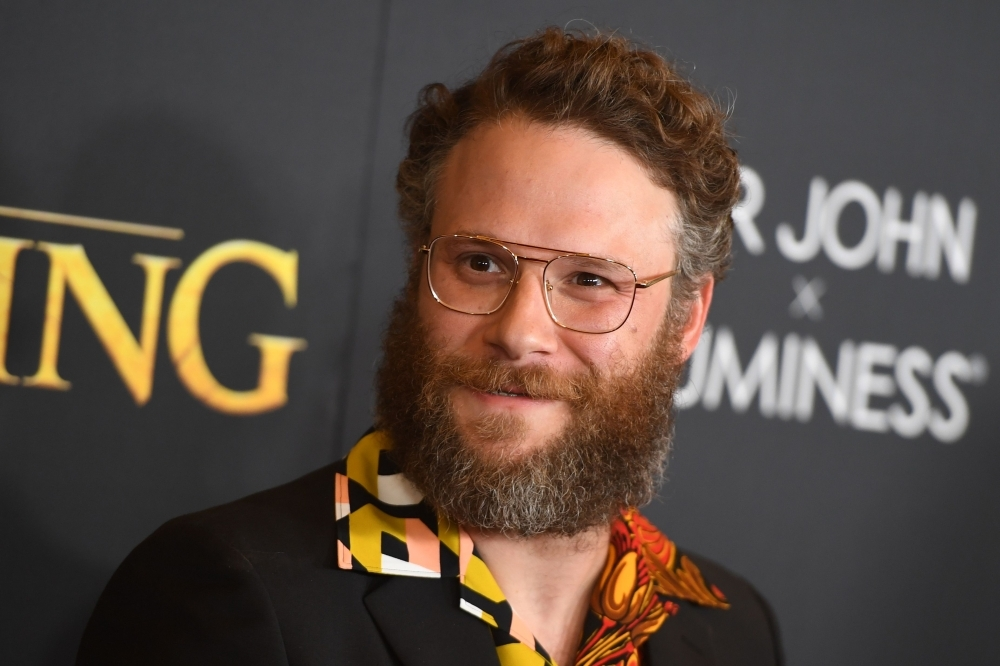 In this file photo taken on July 9, 2019, US-Canadian actor Seth Rogen arrives for the world premiere of Disney's