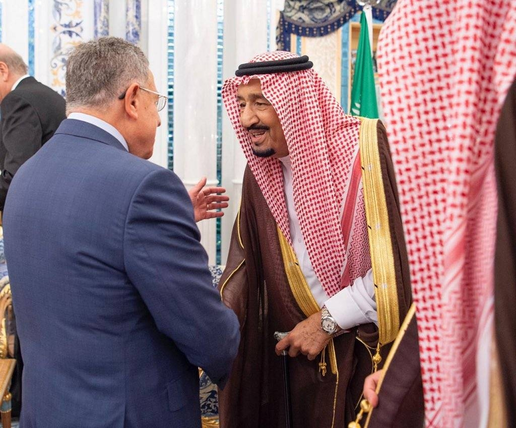 Custodian of the Two Holy Mosques King Salman receives Lebanese former prime minister Fouad Siniora at Al Salam Palace in Jeddah on Monday. — SPA