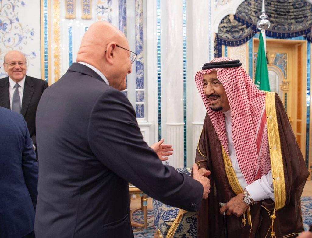 Custodian of the Two Holy Mosques King Salman receives Lebanese former prime minister Tammam Salam at Al Salam Palace in Jeddah on Monday. — SPA