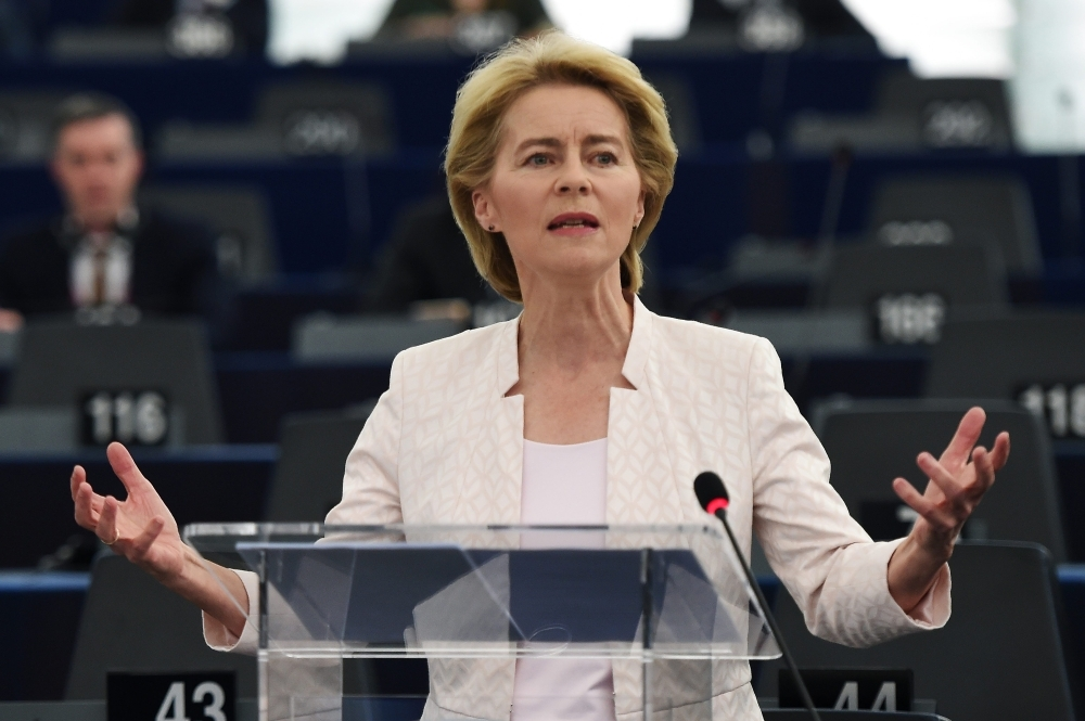 Former German Defense Minister and newly-appointed EU commissioner Ursula von der Leyen delivers a speech during her statement for her candidacy for President of the Commission at the European Parliament on Tuesday in Strasbourg, eastern France. -AFP