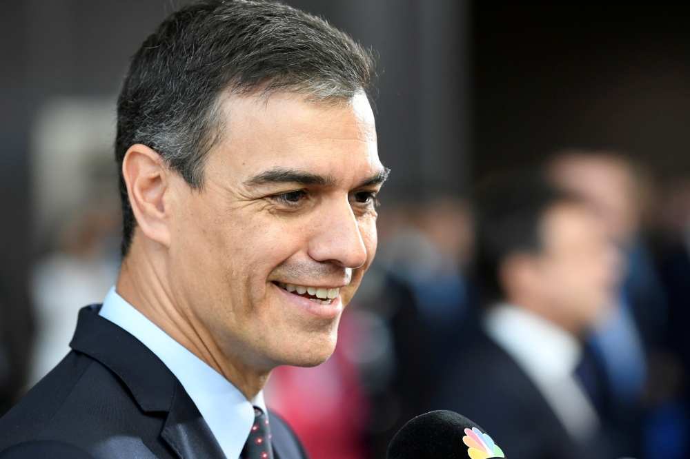 Spain's Prime Minister Pedro Sanchez speaks to media as he arrives to take part in a European Union leaders summit, in Brussels, Belgium, in this July 2, 2019 file photo. — Reuters