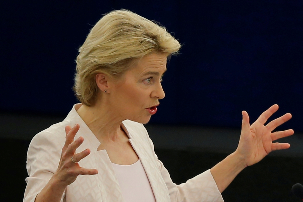 Designated European Commission President Ursula von der Leyen delivers a speech during a debate on her election at the European Parliament in Strasbourg, France, on Tuesday. — Reuters