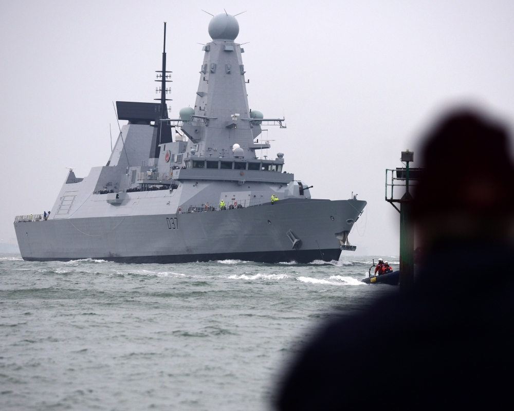 A March 22, 2013 handout photo released by Britain's Ministry of Defense (MoD) in London on July 12, 2019 shows the British Royal Navy's HMS Duncan, a Type 45 Destroyer, as it prepares to arrive in Portsmouth, southern England. — AFP