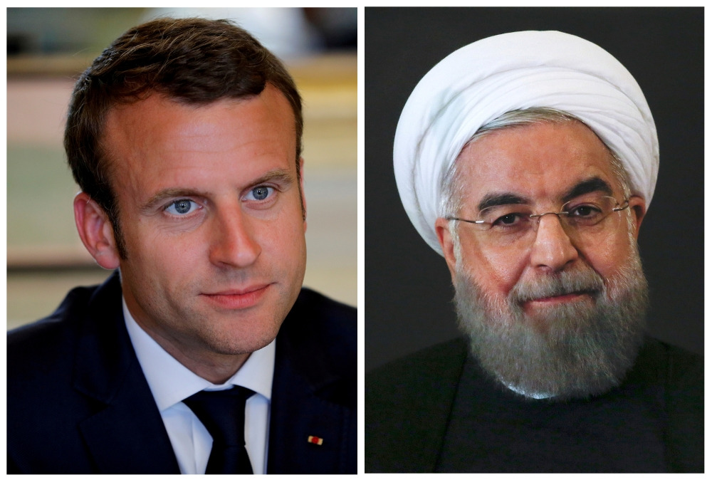 A combination of file photos showing French President Emmanuel Macron attending a meeting at the Elysee Palace in Paris, France, on May 23, 2017, and Iran President Hassan Rouhani looking on at the Campidoglio palace in Rome, Italy, on Jan. 25, 2016. — Reuters