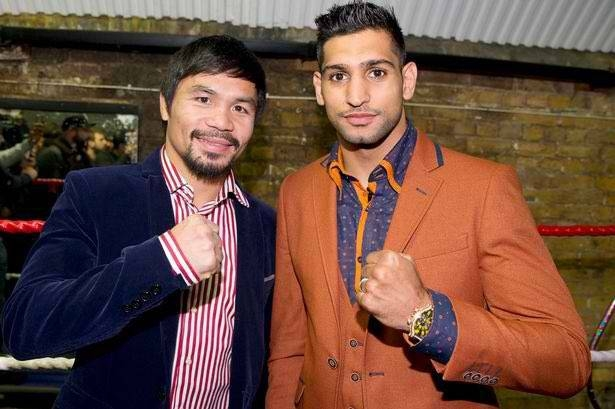 British boxer Amir Khan, seen on right of this combo picture, claims he has agreed a deal to fight Manny Pacquiao, left, in Saudi Arabia in November.