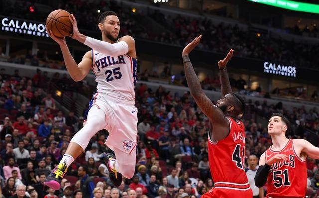 Philadelphia 76ers guard Ben Simmons (25) makes a pass against Chicago Bulls forward JaKarr Sampson (41) during the second half at the United Center, Chicago, IL, USA in this Apr 6, 2019 file photo. — Reuters