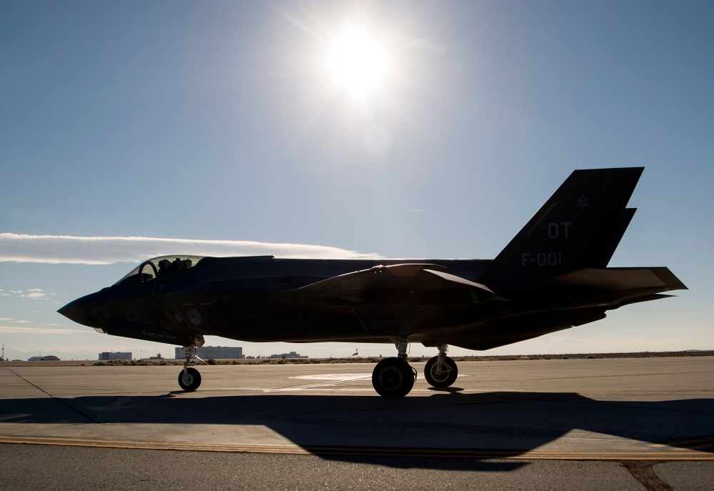 A Dutch Lockheed Martin F-35 Lightning II fighter jet takes off at Edwards Air Force Base, California, in this Nov. 24, 2015 file photo. — AFO