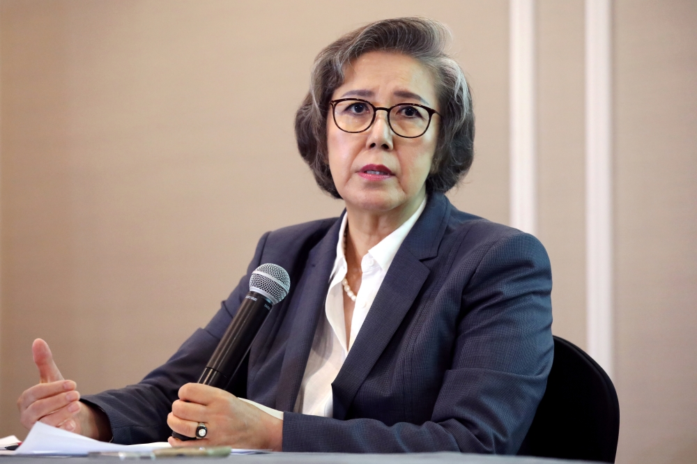 UN Special Rapporteur on Human Rights Situation in Myanmar Yanghee Lee speaks during a news conference in Kuala Lumpur, Malaysia, on Thursday. — Reuters