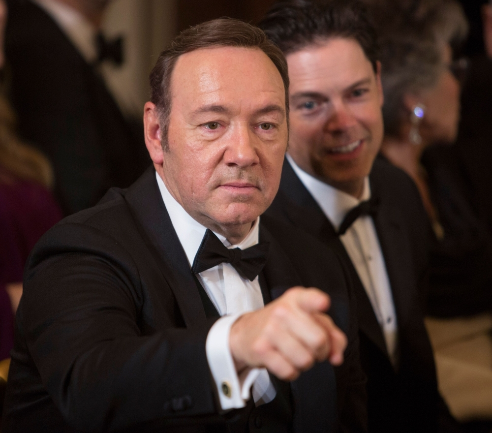 Actor Kevin Spacey acknowledges another guest during a reception for the 2016 Kennedy Center Honorees at the White House in Washington in this Dec. 4, 2016 file photo. — AFP