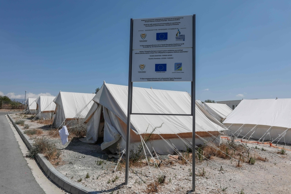 A partial view taken on July 12, 2019 shows tents at Pournara camp for migrants and asylum seekers, 20 km from Nicosia. — AFP