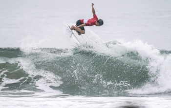 Shun Murakami of Japan competes during a Tokyo 2020 Olympics surfing test event at at Tsurigasaki-kaigan beach, also known as Shidashita beach inIchinomiya Town, Chiba prefecture, Japan, on Thursday, in this photo taken by Kyodo. — Reuters