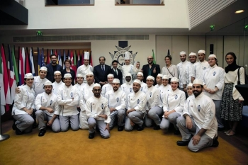 Budding Saudi chefs, a class of 30, make a happy picture at the Cordon Bleu culinary arts training institute, based in the 15th arrondissement of Paris. — Courtesy photo