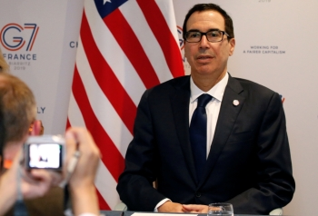 US Treasury Secretary Steven Mnuchin arrives to attend a news conference at the G7 finance ministers and central bank governors meeting in Chantilly, near Paris, France, on Thursday. — Reuters