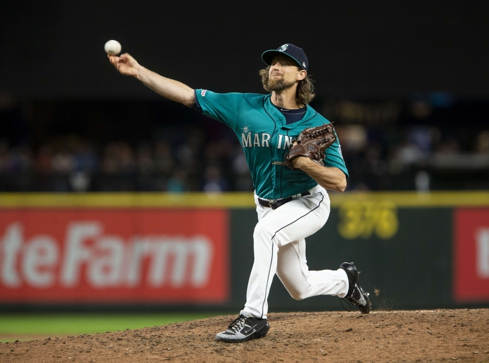 Mike Leake of the Seattle Mariners delivers in the seventh inning against the Los Angeles Angels of Anaheim at T-Mobile Park in Seattle, Washington, on Friday. — AFP