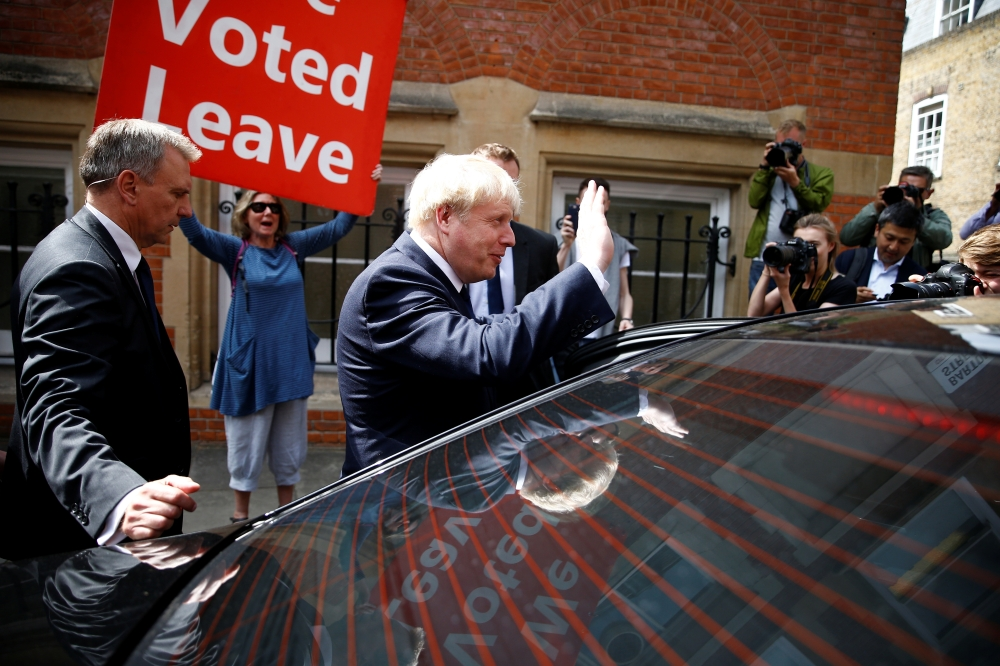 Boris Johnson, a leadership candidate for Britain's Conservative Party, leaves his office in London, Britain July 22, 2019. REUTERS/Henry Nicholls