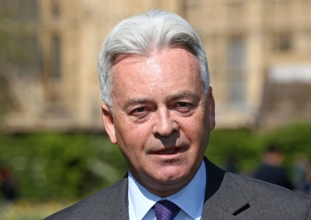Britain's Minister of State for Europe and the Americas Alan Duncan gestures during a joint press conference with Ecuador's Ambassador Jaime Marchan, unseen, at Victoria Gardens, Westminster, in this April 11, 2019 file photo. — AFP