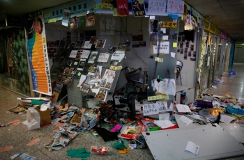 The office of pro-China lawmaker Junius Ho is seen destroyed by anti-extradition supporters in Hong Kong, China, on Monday. — Reuters