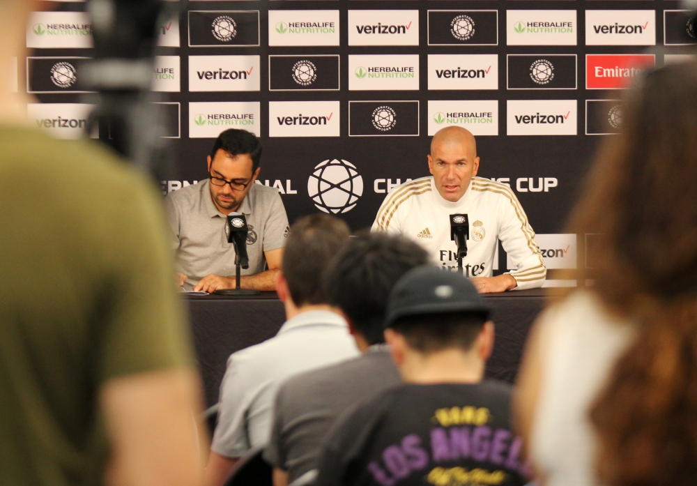 Real Madrid head coach Zinedine Zidane speaks during a news conference ahead of the team's pre-season soccer friendly against Arsenal, in Washington, D.C., on Monday. — Reuters