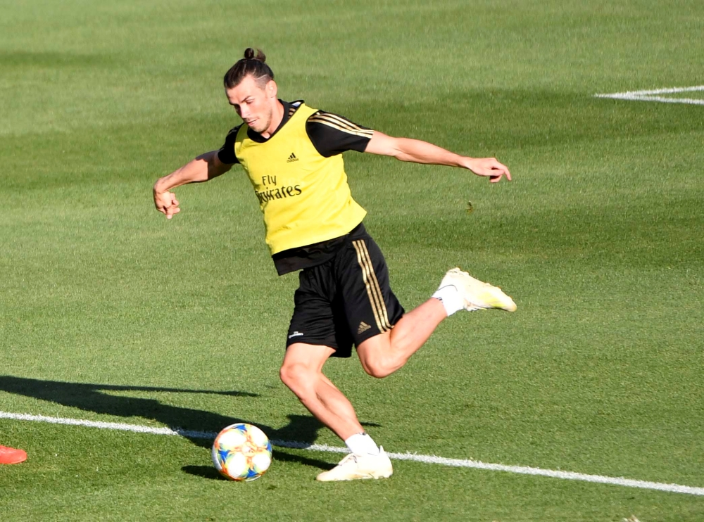 Bale kicks the ball during the Real Madrid FC public practice at Stade Saputo, Montreal, Quebec, Canada, in this Jul 17, 2019 file photo. — Reuters