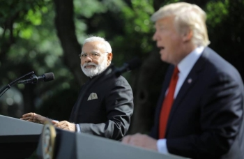 US President Donald Trump holds a joint news conference with Indian Prime Minister Narendra Modi in the Rose Garden of the White House in Washington on June 26, 2017. –Reuters photo