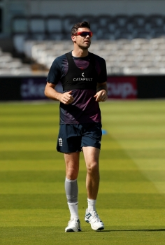 England's James Anderson during nets session at Lord's Cricket Ground, London, Britain, on Tuesday. — Reuters