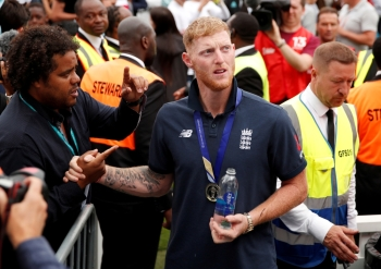 England's Ben Stokes during the celebrations after winning the World Cup final against New Zealand at The Oval, London, in this July 15, 2019 file photo. — Reuters