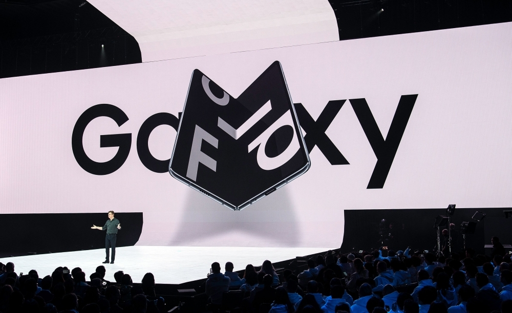 Samsung senior vice president of product marketing Justin Denison speaks on stage about the company's new foldable phone during the Samsung Unpacked product launch event in San Francisco, California, in this Feb. 20, 2019 file photo. — AFP