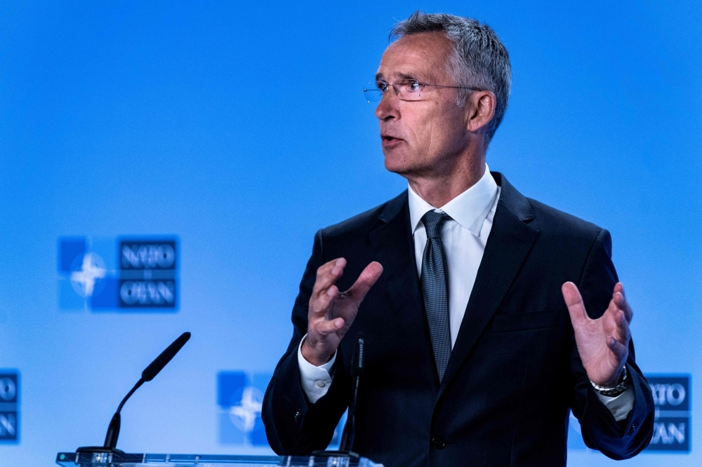 NATO Secretary General Jens Stoltenberg gestures as he delivers a speech during a press conference about the end of the Intermediate-Range Nuclear Forces (INF) treaty at the North Atlantic Treaty Organization (NATO) headquarters, in Brussels, on Friday. — AFP