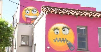 Neighbors frown at California emoji house'