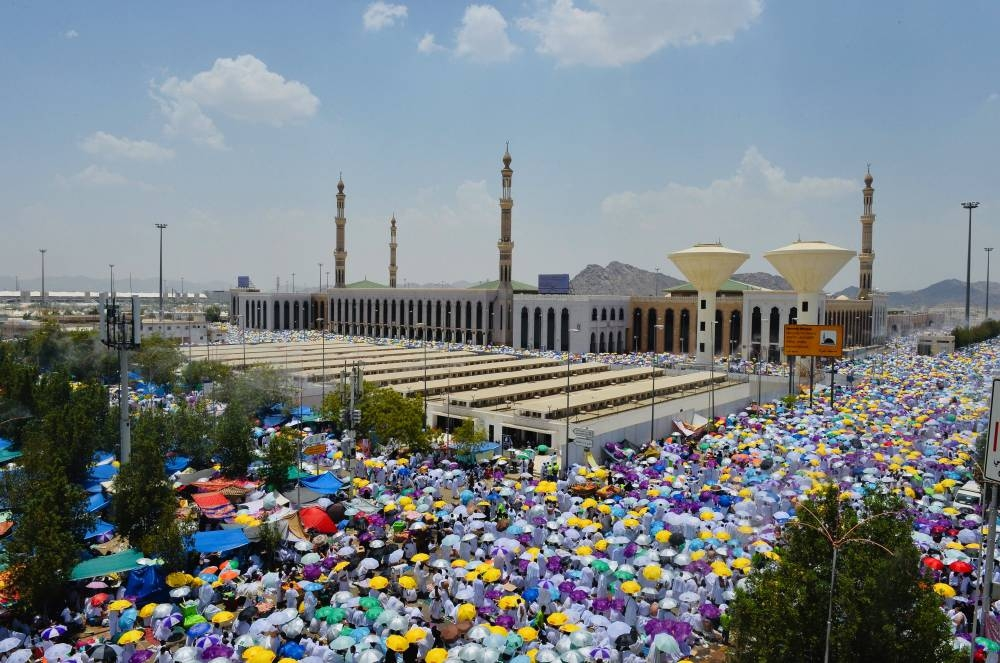 Pilgrims attend combined-shortened Dhuhr and Asr prayers at the Holy Site of Arafat. — SPA