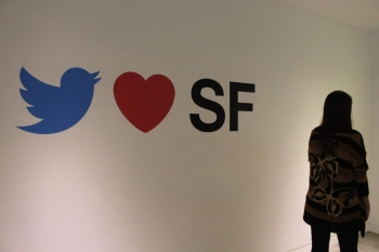 Graphics on a wall inside Twitter's San Francisco headquarters expresses love for its home city on Wednesday.  -AFP